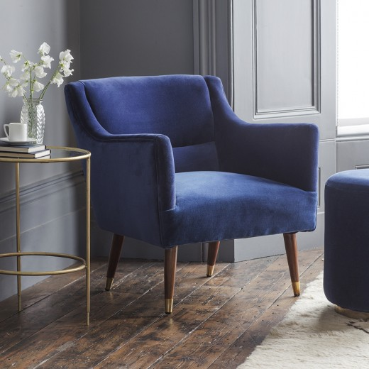 Alresford Armchair in Blue Velvet - ETA end March