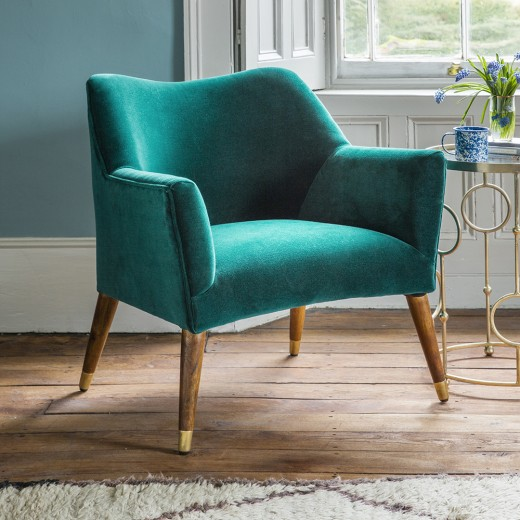 Astoria chair in teal velvet with brass caps for Teal reading chair