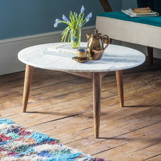 Marble Coffee Table Uk: Deco White Marble Coffee Table