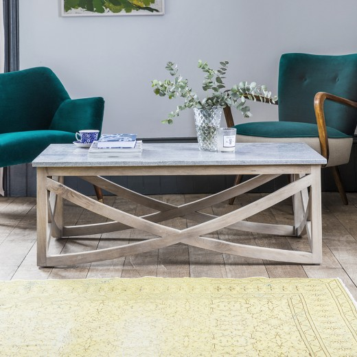 Lily coffee table with a marble natural stone top Stone top coffee table