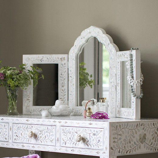 Isabelle Mother of Pearl Triple Mirror in White - ETA end August