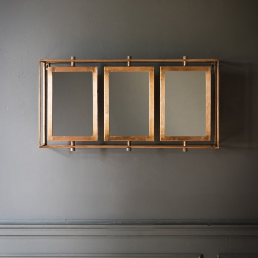 Tribeca Triple Wall Mirror in Antique Copper