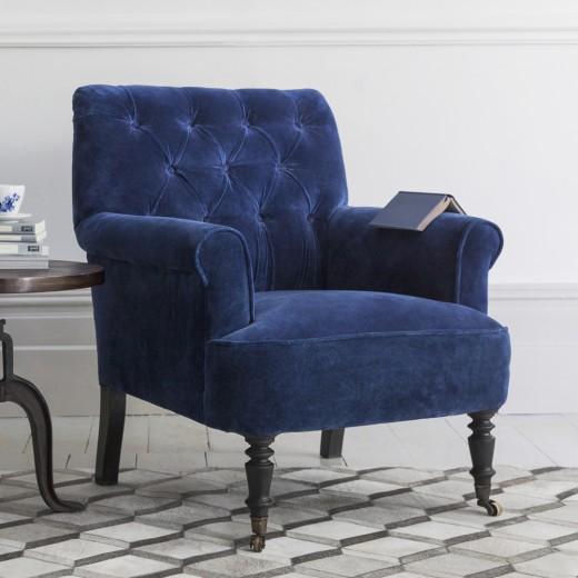 Marvelous Pimlico Blue Velvet Armchair