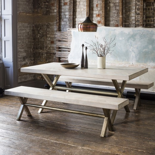 Chevron Dining Table And 2 Benches