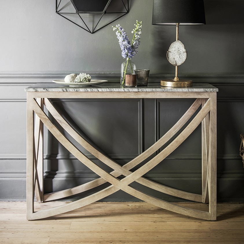 Captivating Lily Console Table With A Natural Marble Stone Top ...