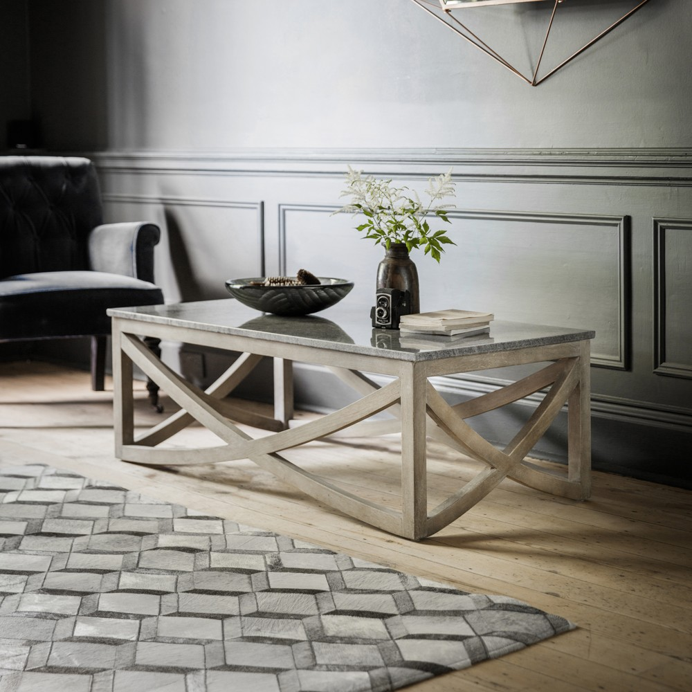 Coffee Table Stone: Lily Coffee Table With A Marble Natural Stone Top