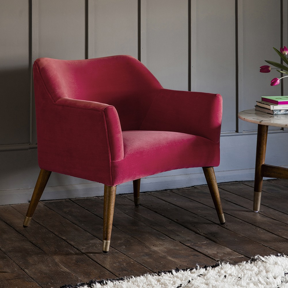 Astoria Chair In Coral Velvet With Brass Caps