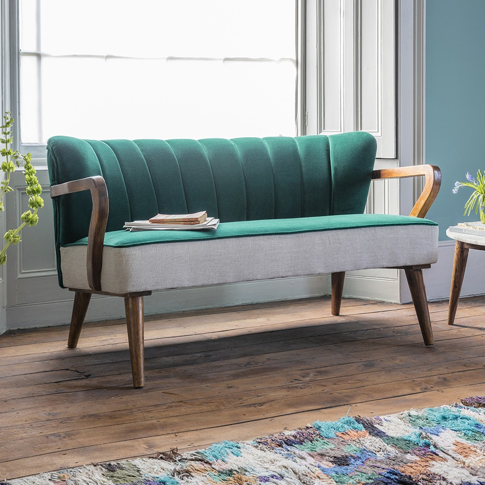 Tallulah 2 seater sofa in dark teal velvet and linen for Cheap home furniture uk
