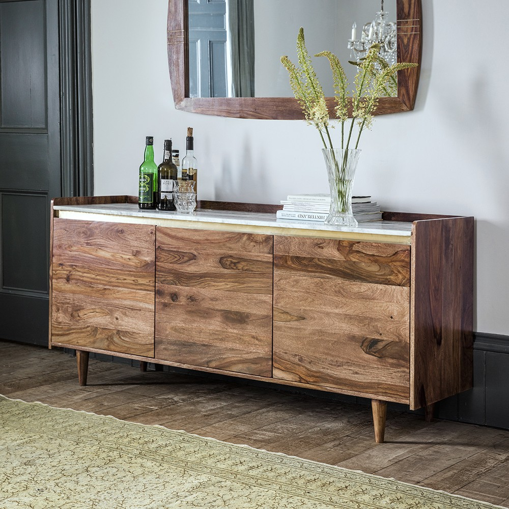 Deco Marble Sideboard In Rosewood
