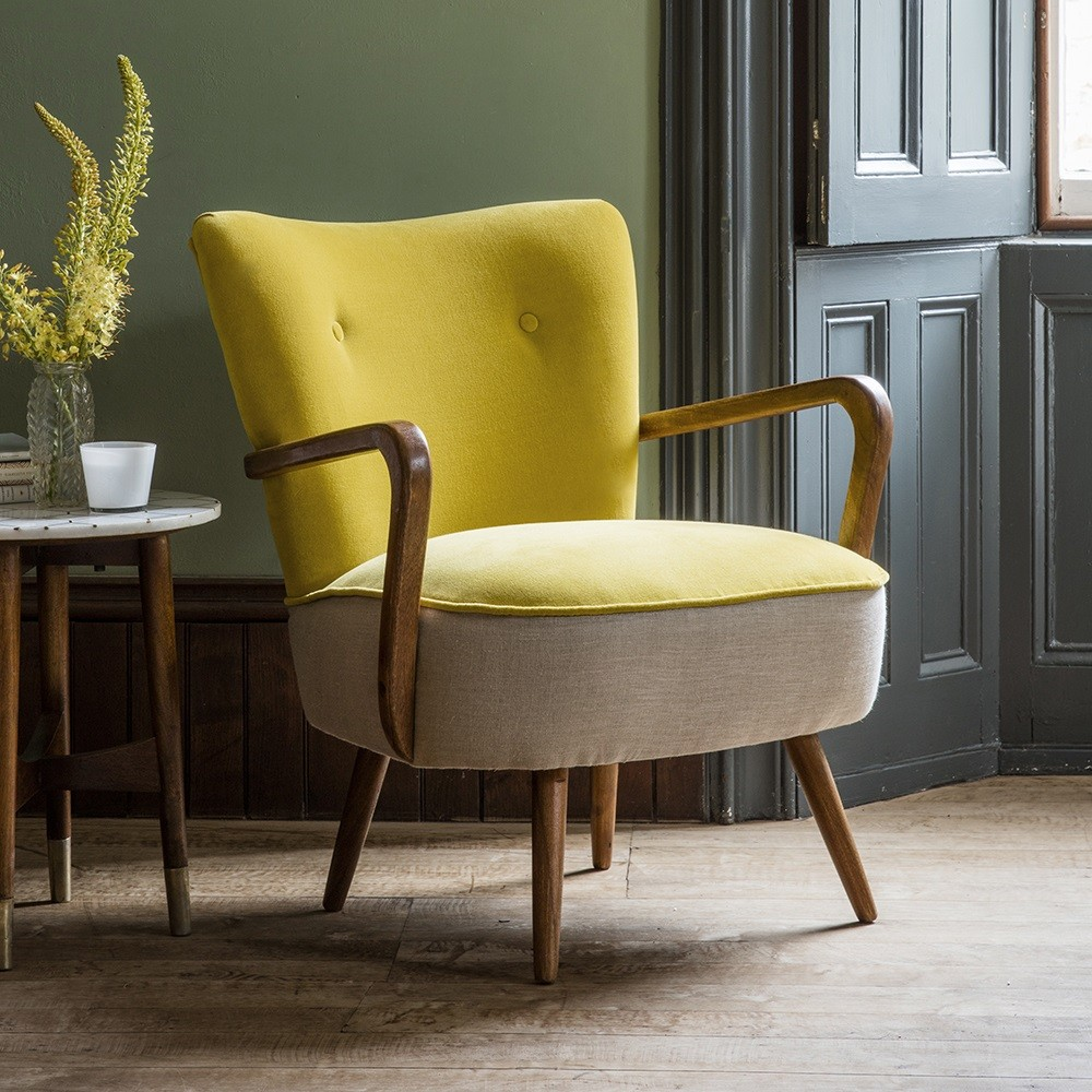 Calvin chair in mustard yellow velvet and natural linen for Armchair furniture