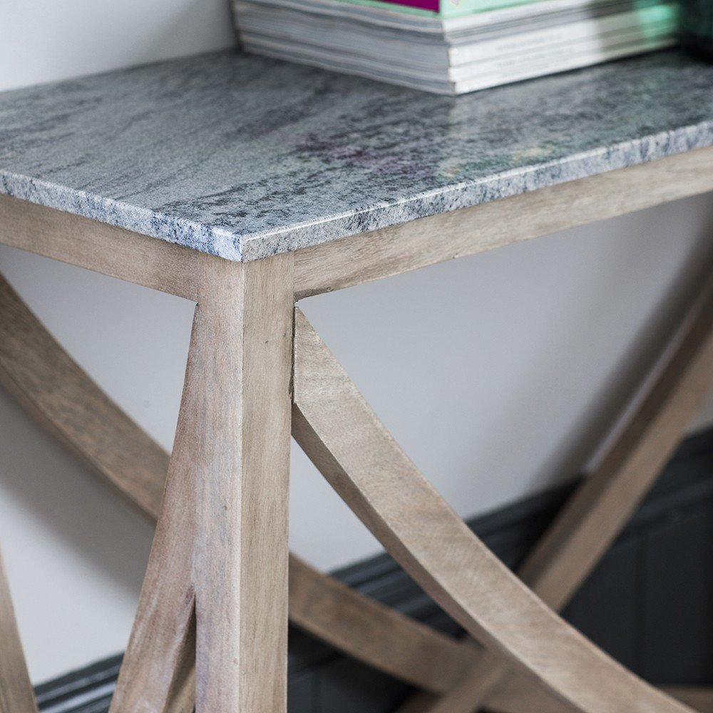 Lily Console Table With A Marble Natural Stone Top
