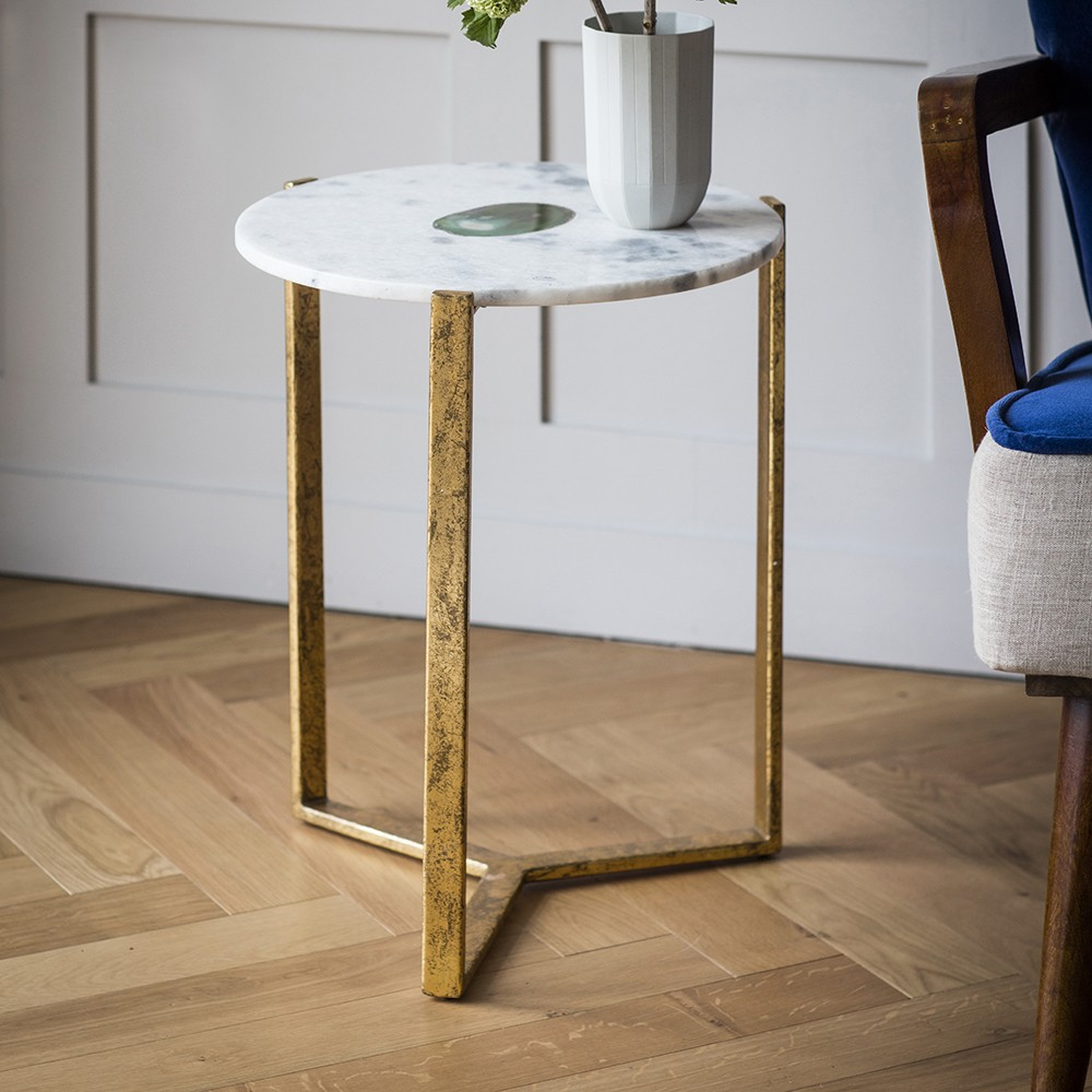 White Marble And Green Side Table