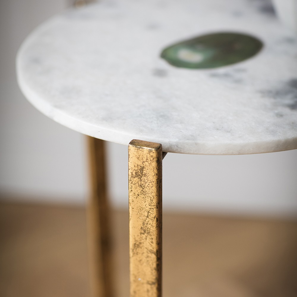 ... White Marble And Green Agate Side Table ...