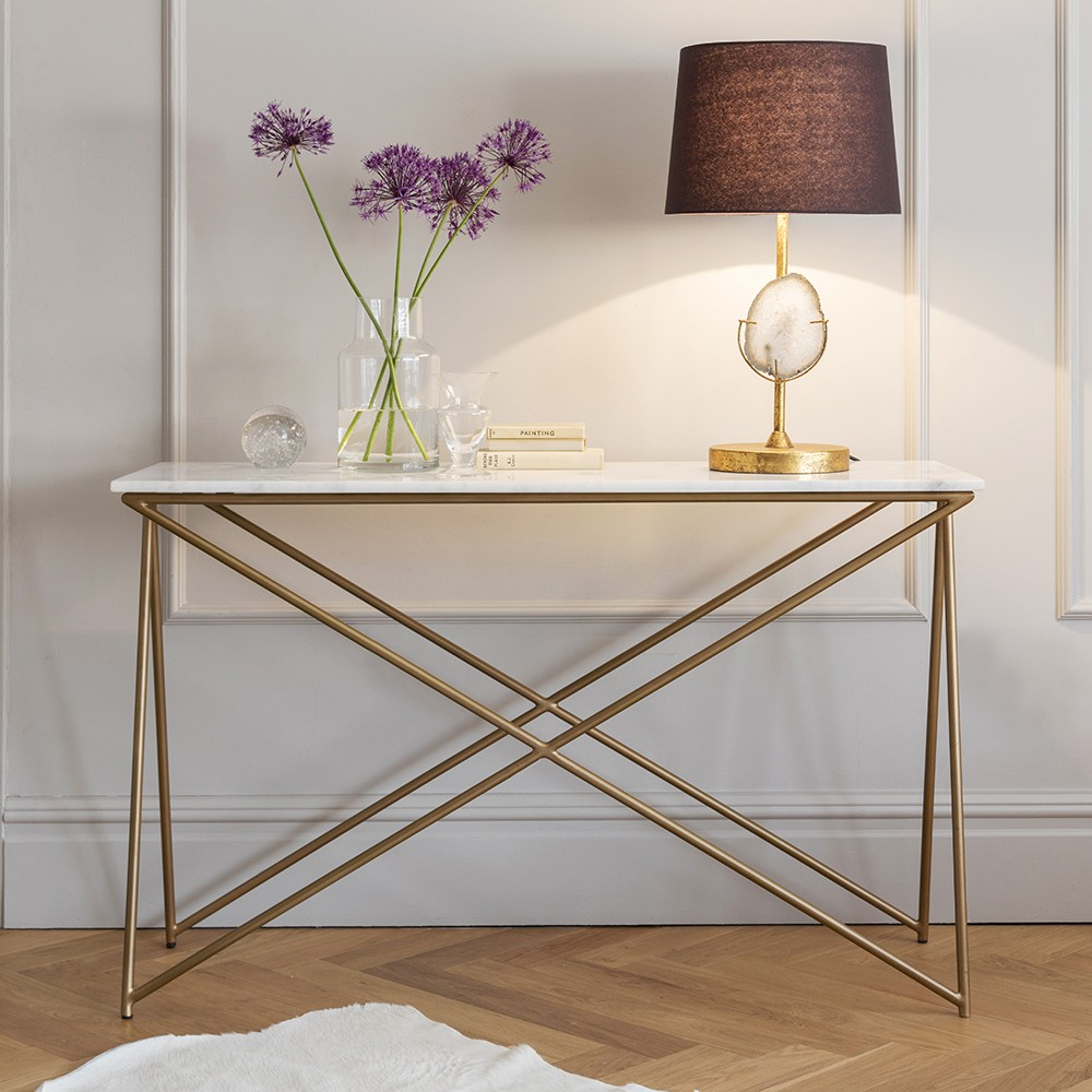 Stellar white marble console table - Table console extensible design ...