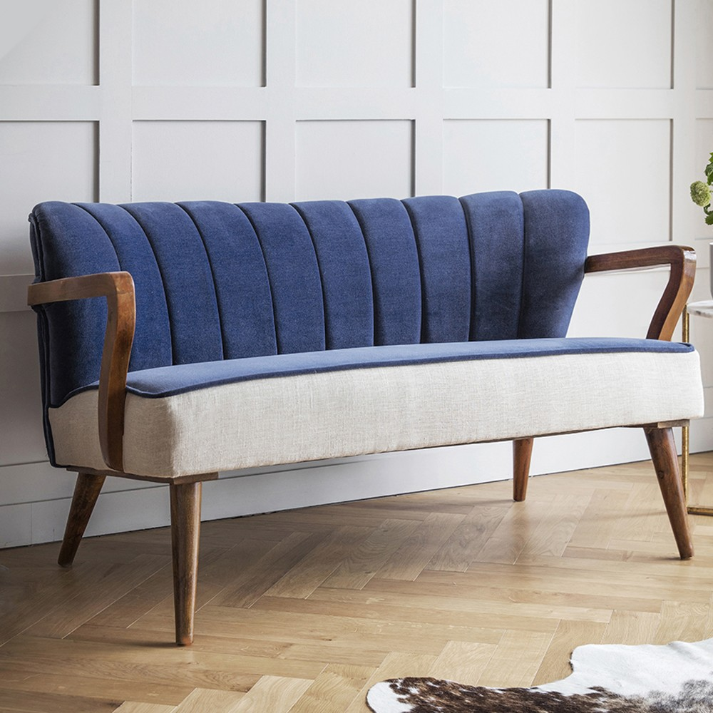 Tallulah 2 seater sofa in blue velvet and linen for Divan and settee
