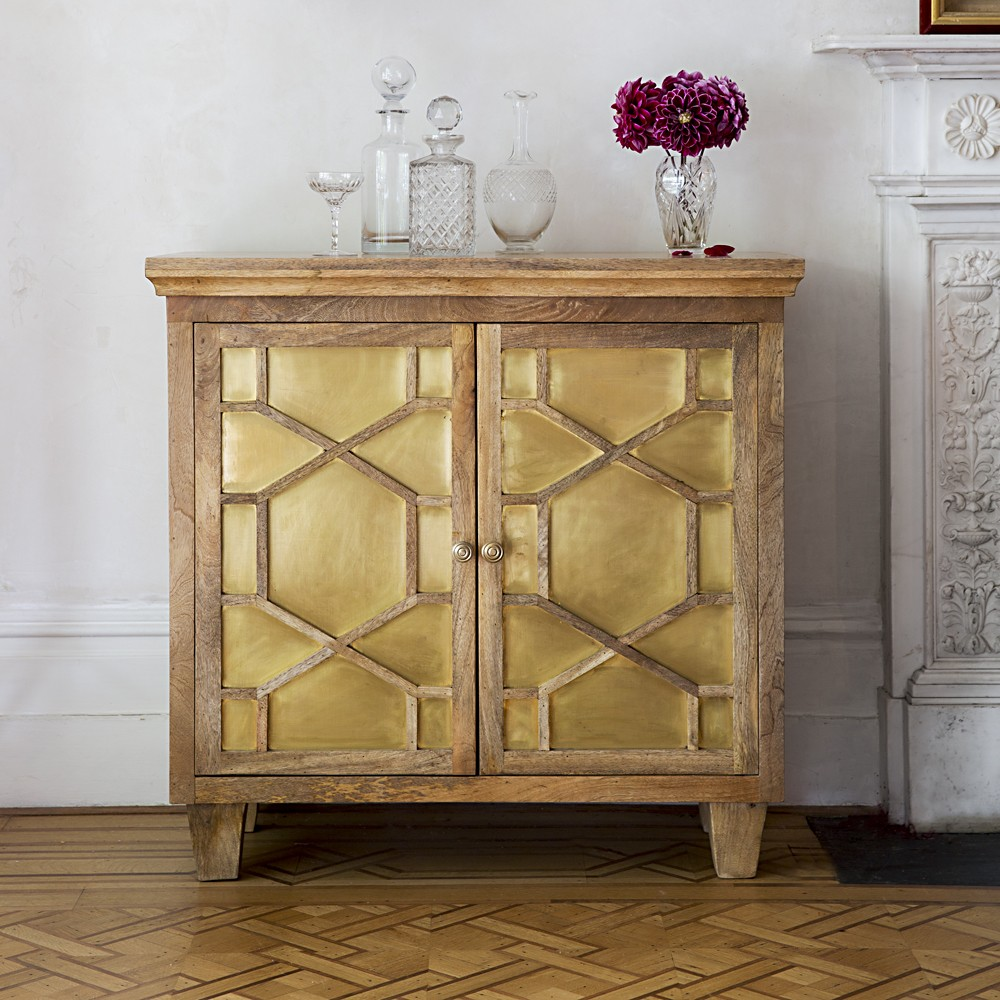 amber art deco sideboard with brass inlay. Black Bedroom Furniture Sets. Home Design Ideas