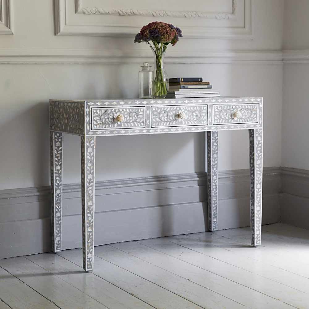 Classic Mother Of Pearl Dressing Table In Steeple Grey