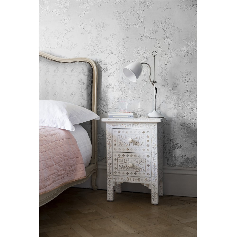 ... Mother Of Pearl Inlay Bedside Chest Of Drawers In White