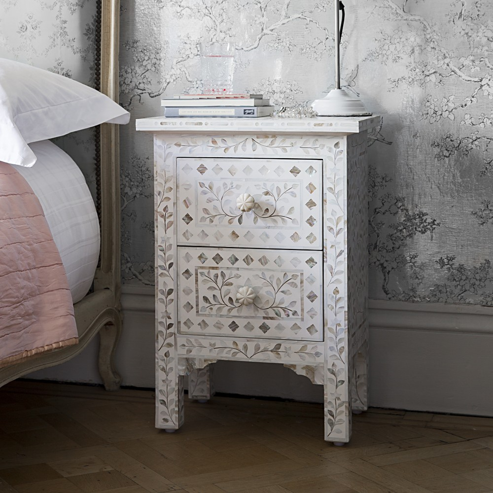 Mother Of Pearl Inlay Bedside Chest Of Drawers In White ...