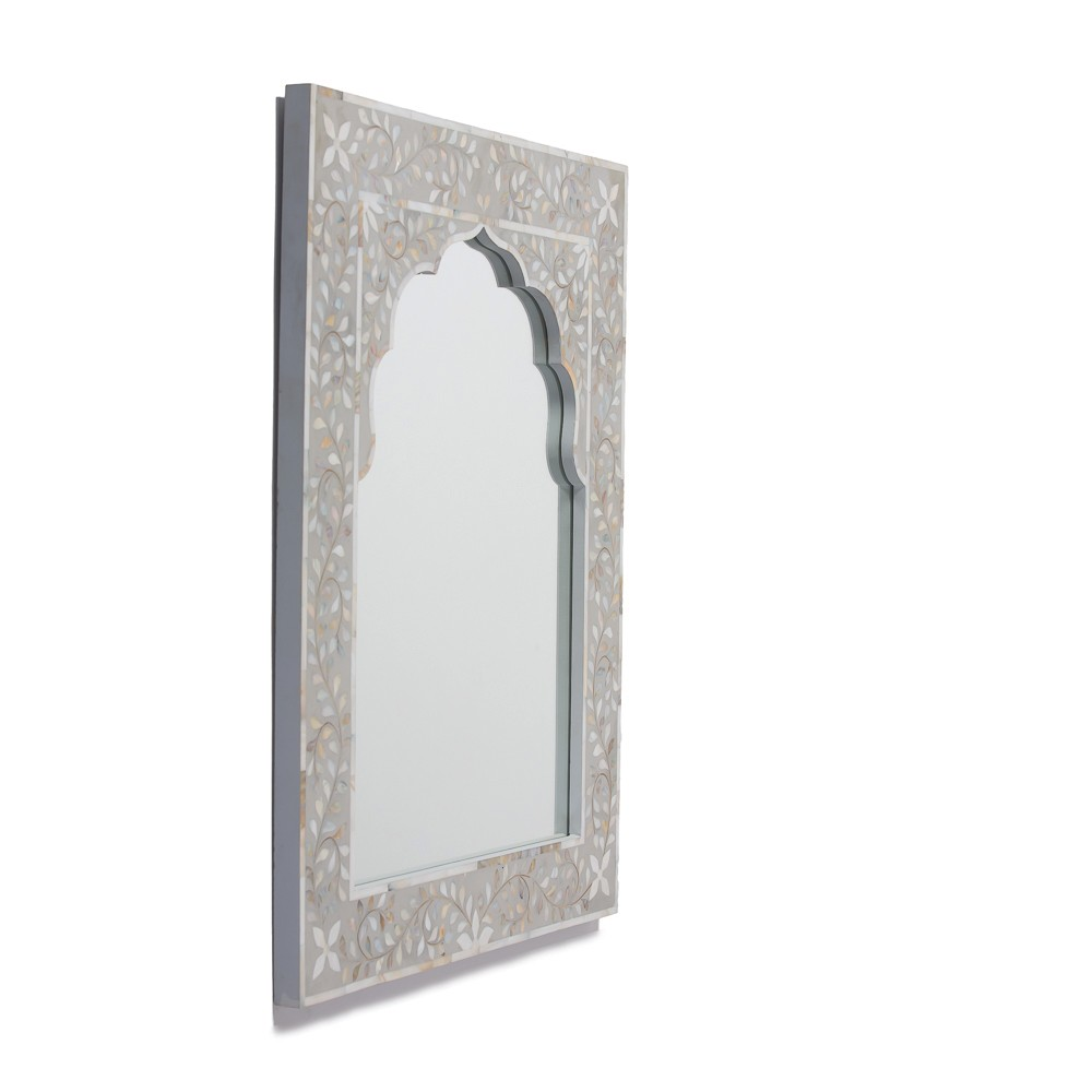 Kasbah Mother Of Pearl Wall Mirror In Steeple Grey