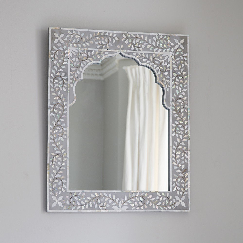 Kasbah Mother of Pearl Wall Mirror in Steeple Grey