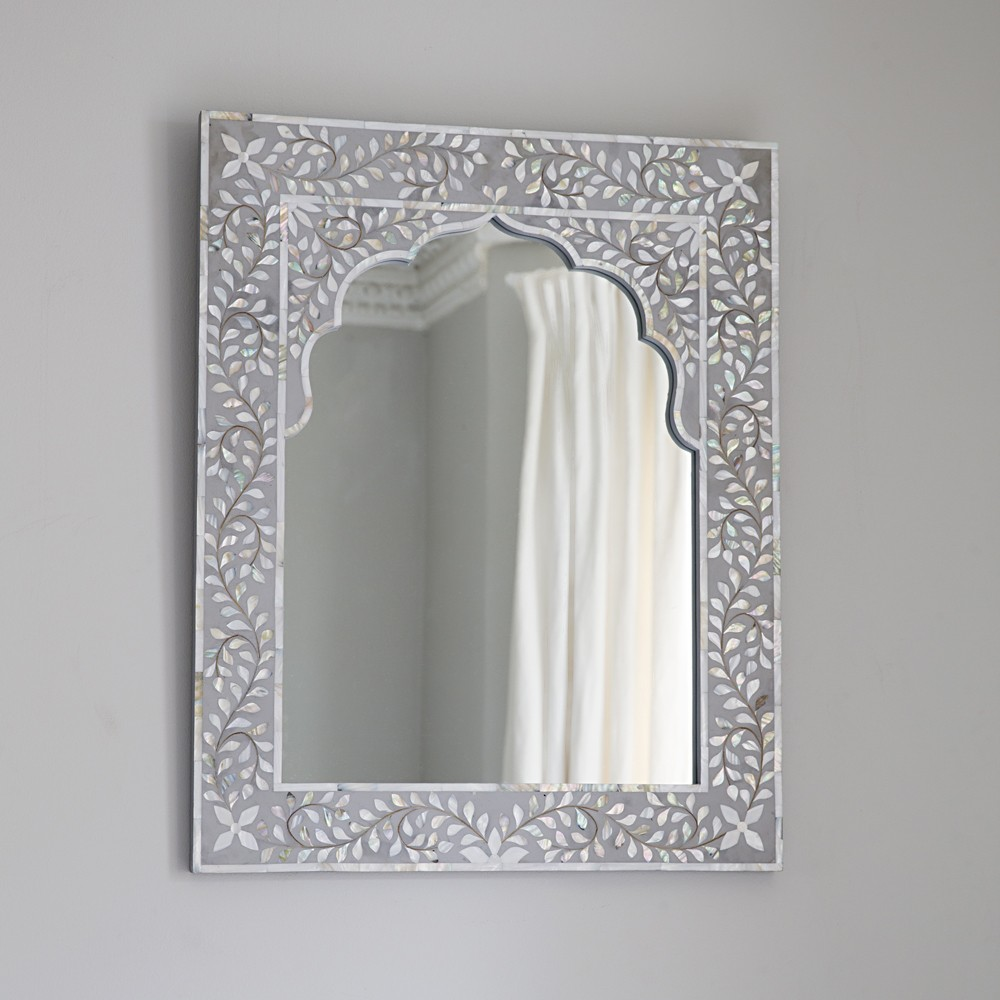 Kasbah mother of pearl wall mirror in steeple grey for Mirror o mirror