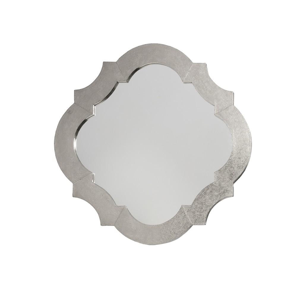 Lotus White Metal Wall Mirror