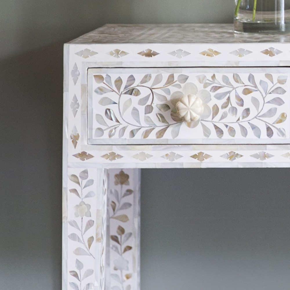 Classic mother of pearl dressing table in pearly white classic mother of pearl console table in white geotapseo Image collections