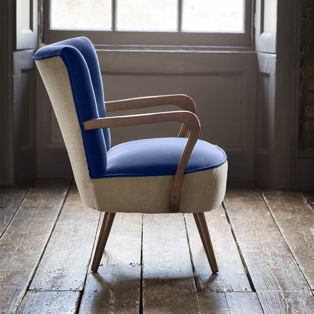 calvin armchair in blue velvet and linen - Blue Velvet Chair