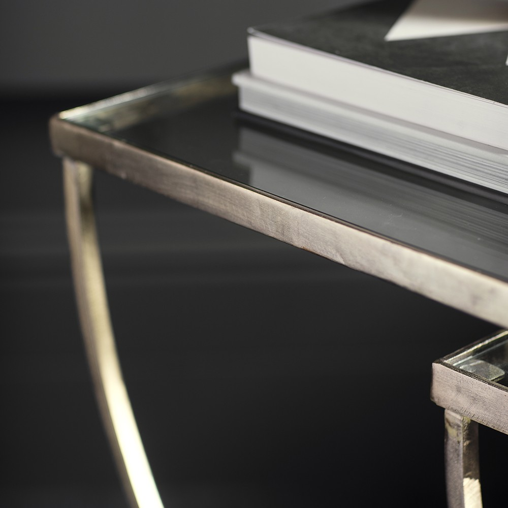 wishbone glass top nesting side tables
