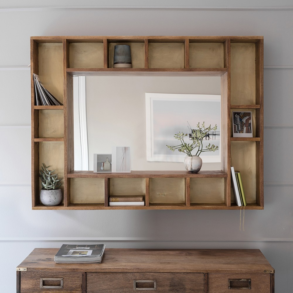 Pigeonhole mirror for Hallway mirror and shelf