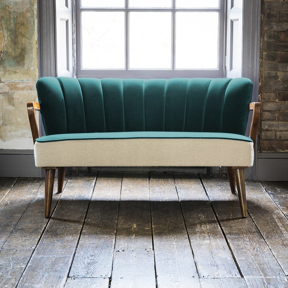Tallulah 2 Seater Sofa In Dark Teal Velvet And Linen