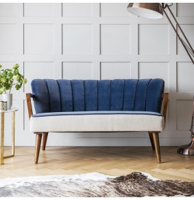 Tallulah 2 Seater Sofa in Blue Velvet and Linen