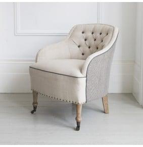 Florence Button Back Linen Armchair