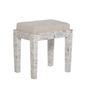 Classic Mother of Pearl Inlay Stool in White - ETA end Jan