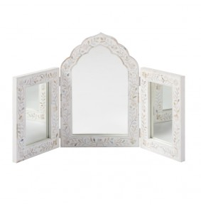 Isabelle Mother of Pearl Triple Mirror in White - ETA end Jan