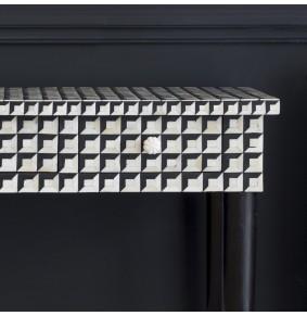 Cuboid Geometric Bone Inlay Console Table