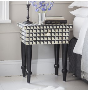 Cuboid Geometric Bone Inlay Bedside Drawer
