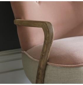 Calvin Armchair in Champagne Velvet and Linen