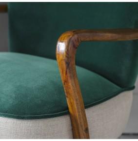 Calvin Armchair in Emerald Green Velvet and Linen