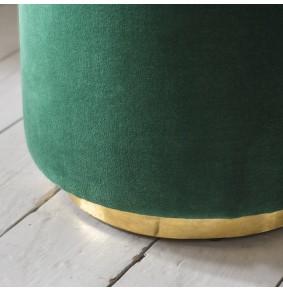 Carnaby Footstool in Green Velvet