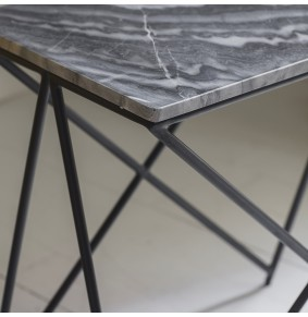 Stellar Grey Marble Side Table