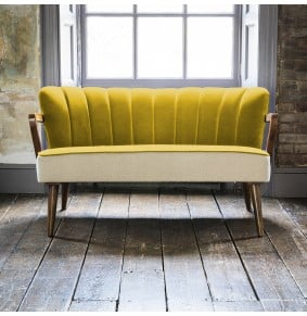 Tallulah 2 Seater Sofa in Mustard Yellow Velvet and Linen