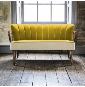 Tallulah 2 Seater Sofa in Mustard Yellow Velvet and Linen