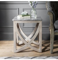 Lily Side Table with a Natural Marble Stone Top - ETA end July