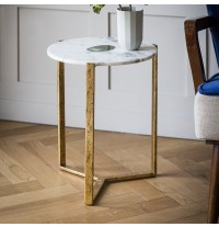 White Marble and Green Agate Side Table - ETA end March
