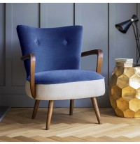 Calvin Armchair in Blue Velvet and Linen
