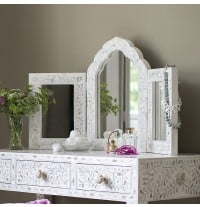 Isabelle Mother of Pearl Triple Mirror in White