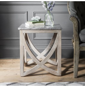 Lily Side Table with a Natural Marble Stone Top