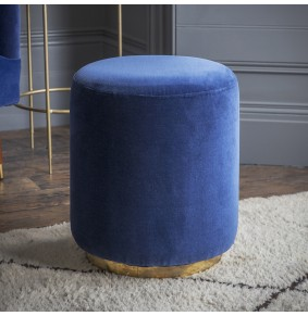 Carnaby Foot Stool in Blue Velvet